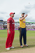 Steven Croft and James Vince ahead of the NatWest T20 Blast Semi Final match between Hampshire County Cricket Club and Lancashire County Cricket Club at Edgbaston, Birmingham, United Kingdom on 29 August 2015. Photo by David Vokes.