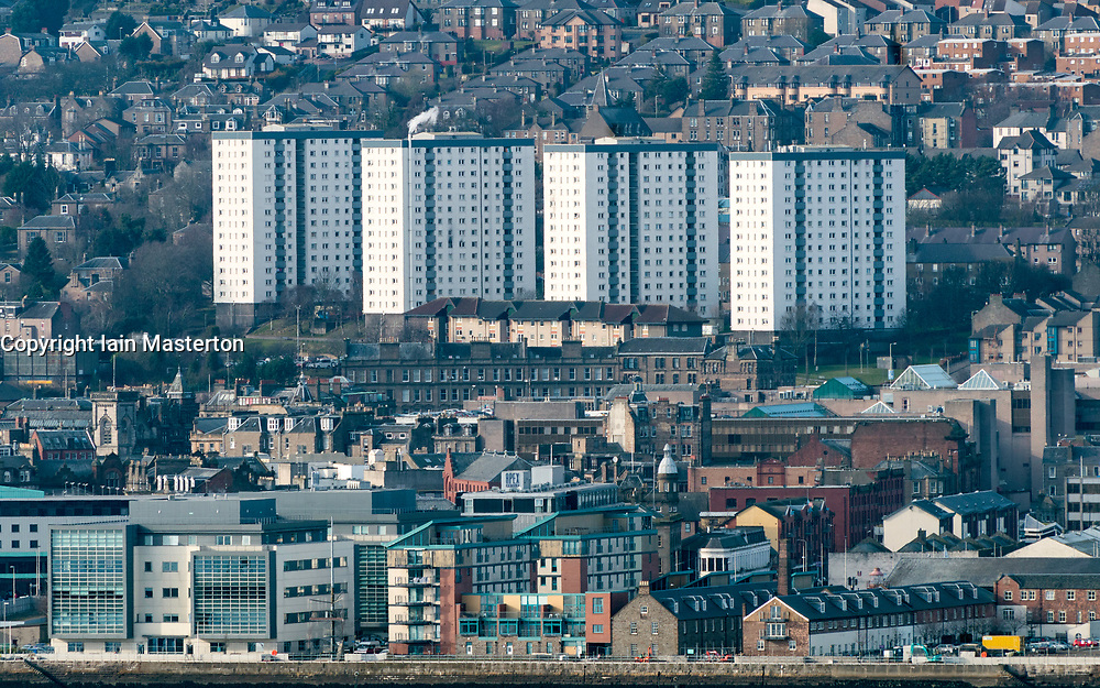 View over city of Dundee with high rise tower blocks housing in Tayside, Scotland, United Kingdom