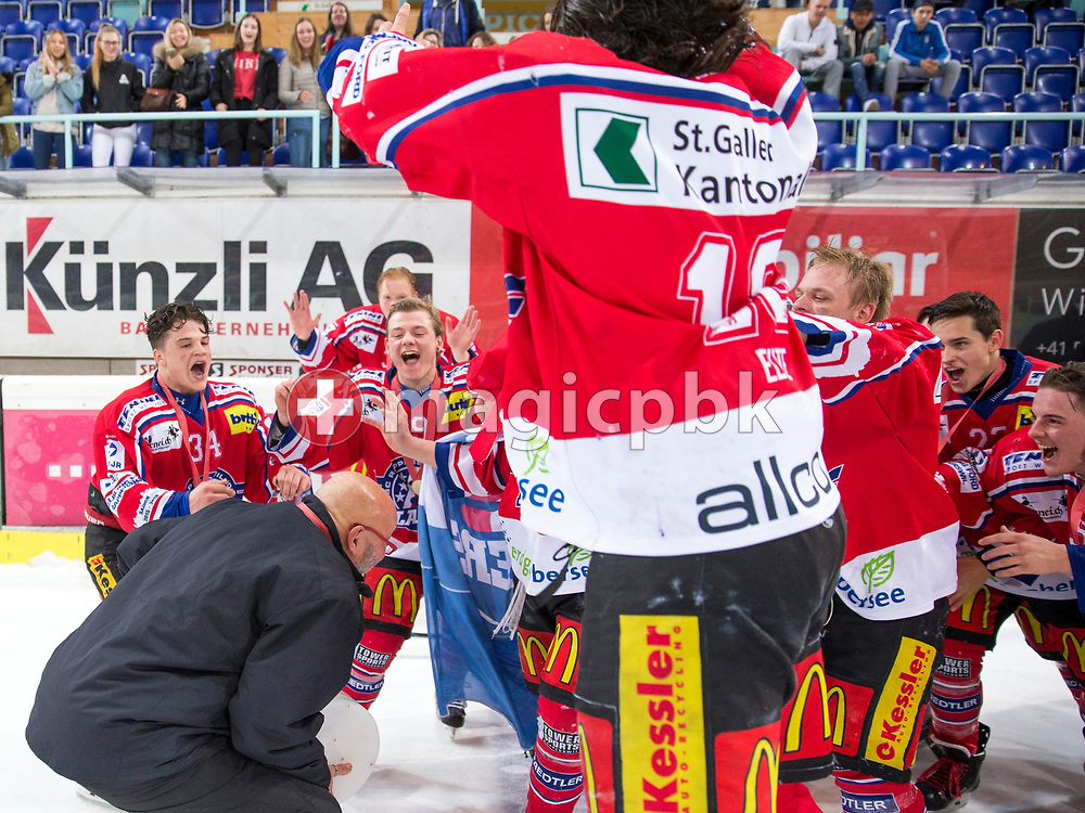 Rapperswil-Jona Lakers staff member Ueli Blaser holding the Swiss championships trophy celebrate with the team after it won the fifth Elite B Playoff Final ice hockey game between Rapperswil-Jona Lakers and ZSC Lions held at the SGKB Arena in Rapperswil, Switzerland, Sunday, Mar. 19, 2017. (Photo by Patrick B. Kraemer / MAGICPBK)
