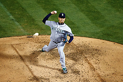 OAKLAND, CA - SEPTEMBER 09:  Hisashi Iwakuma #18 of the Seattle Mariners pitches against the Oakland Athletics during the second inning at the Oakland Coliseum on September 9, 2016 in Oakland, California. (Photo by Jason O. Watson/Getty Images) *** Local Caption *** Hisashi Iwakuma