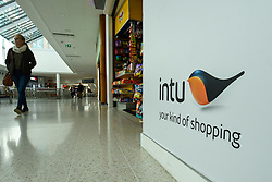 © Licensed to London News Pictures. 12/02/2020. WATFORD, UK.  A general view of the interior of Intu Watford.  Shares in Intu, Britain's largest shopping centre owner with 20 shopping centres in the UK and Spain, including Intu Watford in north west London, have fallen after Link Real Estate Investment Trust abandoned plans to provide funds to reduce Intu's GBP4.7 billion debts. Analysts have reported that several covenants have been breached as a result of the decline in Intu's property portfolio valuation.  Photo credit: Stephen Chung/LNP