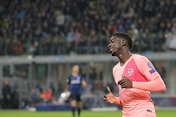 November 6, 2018 - Milan, Milan, Italy - Ousmane Dembélé #11 of FC Barcelona reacts to a missed chance during  the UEFA Champions League group B match between FC Internazionale and FC Barcelona at Stadio Giuseppe Meazza on November 06, 2018 in Milan, Italy. (Credit Image: © Giuseppe Cottini/NurPhoto via ZUMA Press)