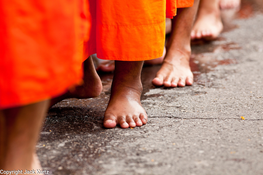 """15 JULY 2011 - PHRA PHUTTHABAT, SARABURI, THAILAND:  Monks walk in a line during the Tak Bat Dok Mai at Wat Phra Phutthabat in Saraburi province of Thailand, Friday, July 15. Wat Phra Phutthabat in Phra Phutthabat, Saraburi, Thailand, is famous for the way it marks the beginning of Vassa, the three-month annual retreat observed by Theravada monks and nuns. The temple is highly revered in Thailand because it houses a footstep of the Buddha. On the first day of Vassa (or Buddhist Lent) people come to the temple to """"make merit"""" and present the monks there with dancing lady ginger flowers, which only bloom in the weeks leading up Vassa. They also present monks with candles and wash their feet. During Vassa, monks and nuns remain inside monasteries and temple grounds, devoting their time to intensive meditation and study. Laypeople support the monastic sangha by bringing food, candles and other offerings to temples. Laypeople also often observe Vassa by giving up something, such as smoking or eating meat. For this reason, westerners sometimes call Vassa the """"Buddhist Lent."""" The tradition of Vassa began during the life of the Buddha. Most of the time, the first Buddhist monks who followed the Buddha did not stay in one place, but walked from village to village to teach. They begged for their food and often slept outdoors, sheltered only by trees. But during India's summer rainy season living as homeless ascetics became difficult. So, groups of monks would find a place to stay together until the rain stopped, forming a temporary community. Wealthy laypeople sometimes sheltered monks on their estates. Eventually a few of these patrons built permanent houses for monks, which amounted to an early form of monastery.    PHOTO BY JACK KURTZ"""