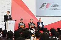 Sergio Perez (MEX) Sahara Force India F1 with team mate Nico Hulkenberg (GER) Sahara Force India F1.<br /> Autodromo Hermanos Rodriguez Circuit Visit, Mexico City, Mexico. Thursday 22nd January 2015.
