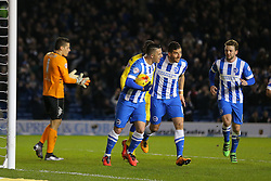 Tomer Hemed ( 2nd R ) of Brighton and Hove Albion celebrates after he scores from the penalty spot to make it 1-0 - Mandatory byline: Paul Terry/JMP - 29/02/2016 - FOOTBALL - Falmer Stadium - Brighton, England - Brighton v Leeds United - Sky Bet Championship