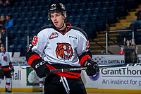 KELOWNA, CANADA - NOVEMBER 25: Ryan Chyzowski #29 of the Medicine Hat Tigers warms up against the Kelowna Rockets on November 25, 2017 at Prospera Place in Kelowna, British Columbia, Canada.  (Photo by Marissa Baecker/Shoot the Breeze)  *** Local Caption ***