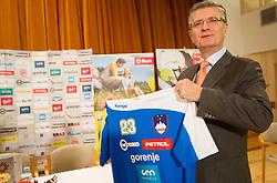 Franjo Bobinac, president of RZS wit a new jersey at press conference of Slovenian Handball Men National Team, on January 13, 2011, in Zrece, Slovenia. (Photo by Vid Ponikvar / Sportida)