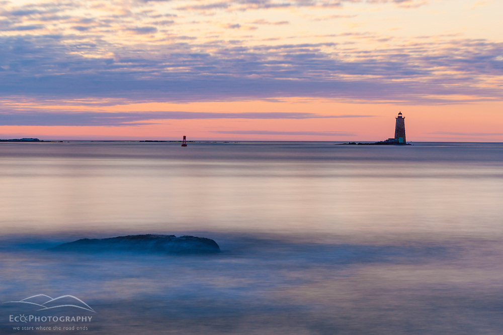 Whaleback Light as seen from Great Island Common in New Castle New Hampshire.