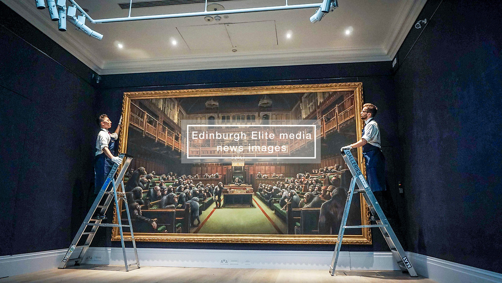 Pictured:   Banksy's Devolved Parliament painting ahead of<br /> it being offered at auction by Sotheby's. The artwork showing the House of<br /> Commons full of chimpanzees is offered for sale by Sotherby's and is expected to fetch £1..5 to £2 million.<br /> <br /> Giannis Alexopoulos   EEm 27.09.2019
