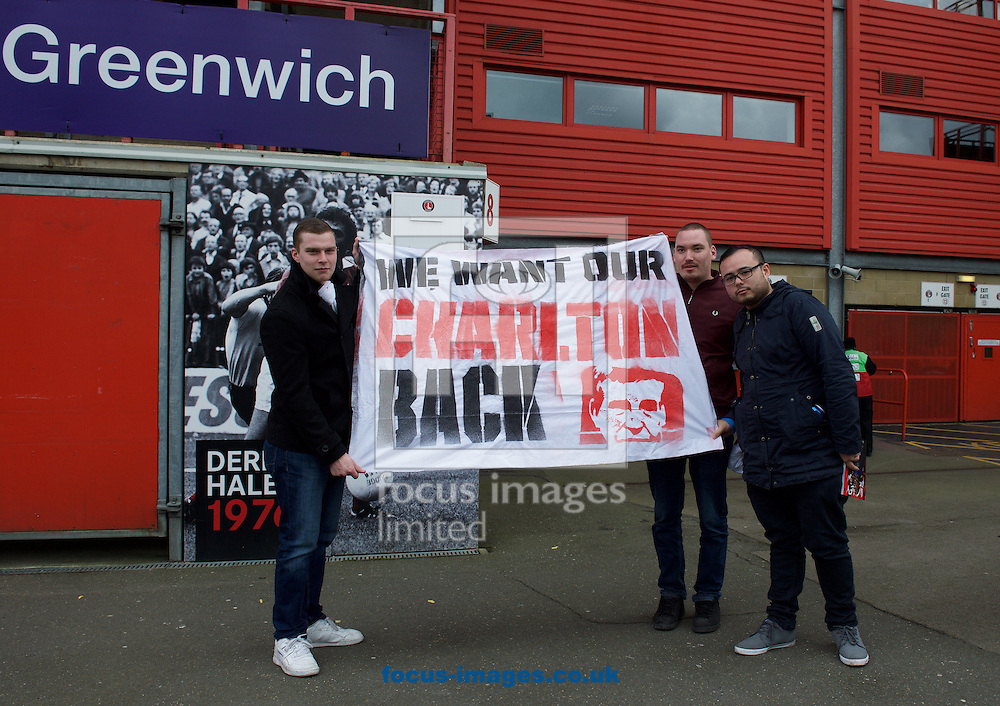 Charlton Athletic fans with a protest banner before the Sky Bet Championship match at The Valley, London<br /> Picture by Alan Stanford/Focus Images Ltd +44 7915 056117<br /> 06/02/2016