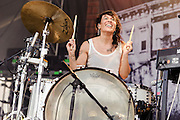 Photos of the band Matt and Kim performing at Catalpa Music Festival on Randall's Island, NYC. July 29, 2012. Copyright © 2012 Matthew Eisman. All Rights Reserved.