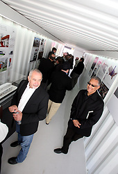 Dec 03 2007. New Orleans, Louisiana. Lower 9th Ward.<br /> Brad Pitt revisits the Lower 9th ward, devastated by Hurricane Katrina to present 'Make it Right' where architects' designs are unveiled to the public. Winning design Architects, R/L Gerald Billes and Richard Kravet of Billes Architecture.<br /> Photo credit; Charlie Varley.
