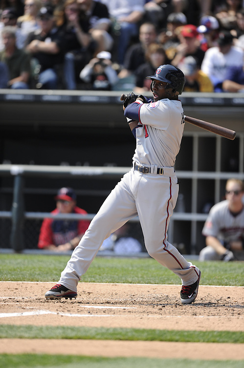 CHICAGO - APRIL 10:  Orlando Hudson #1 of the Minnesota Twins bats against the Chicago White Sox on April 10, 2010 at U.S. Cellular Field in Chicago, Illinois.  The Twins defeated the White Sox 2-1.  (Photo by Ron Vesely)
