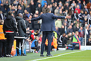 Fulham head coach, Slavisa Jokanovic waving arms on touchline during the Sky Bet Championship match between Fulham and Nottingham Forest at Craven Cottage, London, England on 23 April 2016. Photo by Matthew Redman.