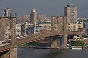 Aerial view of Brooklyn Bridge in New York City.