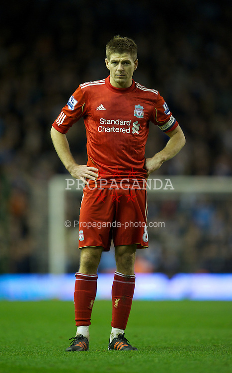 LIVERPOOL, ENGLAND - Wednesday, January 25, 2012: Liverpool's captain Steven Gerrard in action against Manchester City during the Football League Cup Semi-Final 2nd Leg at Anfield. (Pic by David Rawcliffe/Propaganda)