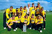 The winning Wellington Firebirds team with trophy.<br /> State Cricket Max final played between the Auckland Aces and the Wellington Firebirds on 18 November, 2001.<br /> Copyright photo: Sandra Teddy / www.photosport.co.nz