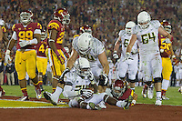 03 November 2012: Runningback (24) Kenjon Barner of the Oregon Ducks scores a touchdown against the USC Trojans during the second half of Oregon's  62-51victory over USC at the Los Angeles Memorial Coliseum in Los Angeles, CA.