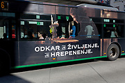 Bus advertising on a city bus on Slovenska Cesta (street) in the Slovenian capital, Ljubljana, on 25th June 2018, in Ljubljana, Slovenia. Ljubljana city buses are operated by the Ljubljanski potniški promet (LPP) public utility company.