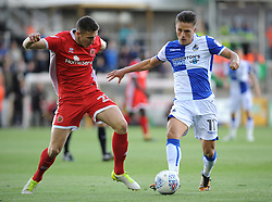 Tom Nichols of Bristol Rovers is challenged by Shaun Donnellan of Walsall - Mandatory by-line: Neil Brookman/JMP - 09/09/2017 - FOOTBALL - Memorial Stadium - Bristol, England - Bristol Rovers v Walsall - Sky Bet League One