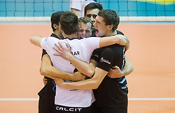 Players of Calcit celebrate during volleyball match between OK Calcit Volleyball Kamnik and OK Salonit Anhovo in final of Slovenian Men's Cup 2013/14 on January 27, 2014 in Arena Tabor, Maribor, Slovenia. Photo by Vid Ponikvar / Sportida