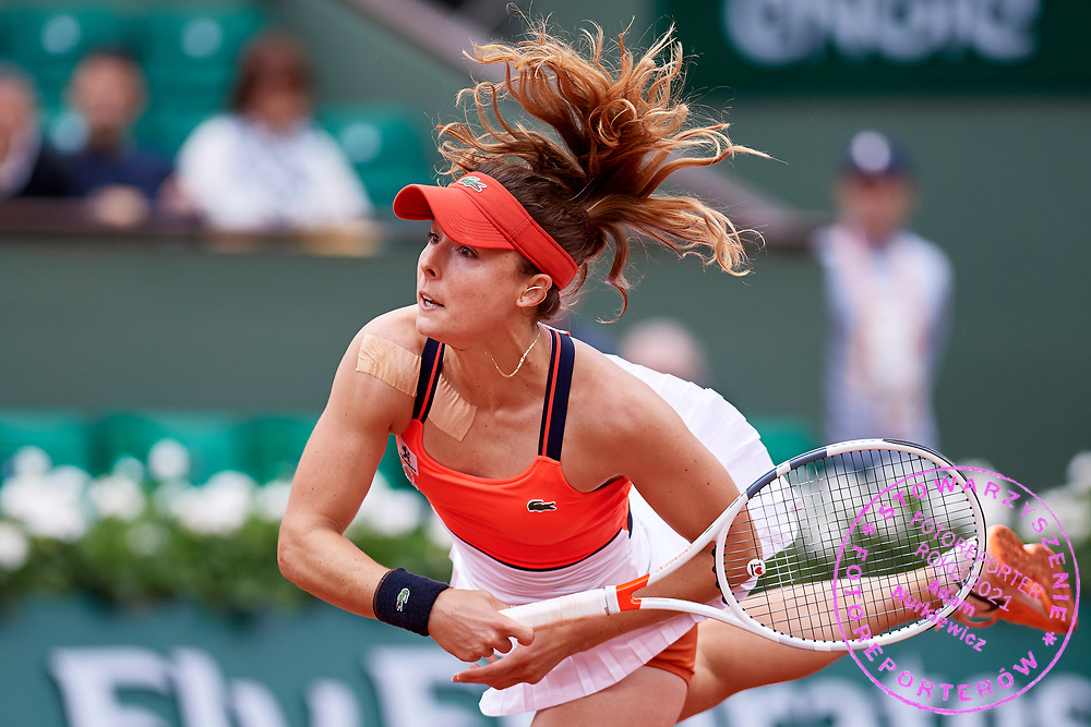 Paris, France - 2017 June 03: Alize Cornet from France  serves during women's single match third round  during tennis Grand Slam tournament The French Open 2017 (also called Roland Garros) at Stade Roland Garros on June 03, 2017 in Paris, France.<br /> <br /> Mandatory credit:<br /> Photo by &copy; Adam Nurkiewicz<br /> <br /> Adam Nurkiewicz declares that he has no rights to the image of people at the photographs of his authorship.<br /> <br /> Picture also available in RAW (NEF) or TIFF format on special request.<br /> <br /> Any editorial, commercial or promotional use requires written permission from the author of image.