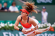 Paris, France - 2017 June 03: Alize Cornet from France  serves during women's single match third round  during tennis Grand Slam tournament The French Open 2017 (also called Roland Garros) at Stade Roland Garros on June 03, 2017 in Paris, France.<br /> <br /> Mandatory credit:<br /> Photo by © Adam Nurkiewicz<br /> <br /> Adam Nurkiewicz declares that he has no rights to the image of people at the photographs of his authorship.<br /> <br /> Picture also available in RAW (NEF) or TIFF format on special request.<br /> <br /> Any editorial, commercial or promotional use requires written permission from the author of image.