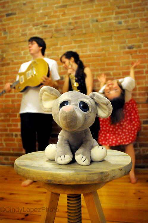 Faster Presents/ Faster Music. Faster Presents The Elephant in the Room (Brian Abbott, Kayla Milmine, Allison Burns). Poster photo. Montreal Fringe Festival 2013.