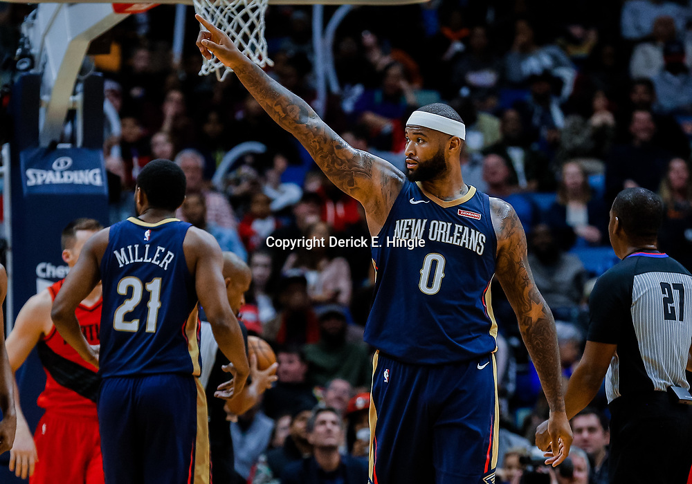 Jan 12, 2018; New Orleans, LA, USA; New Orleans Pelicans center DeMarcus Cousins (0) points to the stands after a basket against the Portland Trail Blazers during the second half at the Smoothie King Center. The Pelicans defeated the Trail Blazers 119-113. Mandatory Credit: Derick E. Hingle-USA TODAY Sports