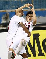 Fotball<br /> VM-kvalifisering<br /> 16.10.2012<br /> Kypros v Norge 1:3<br /> Foto: Savvides/Digitalsport<br /> NORWAY ONLY<br /> <br /> Tarik Elyounoussi og Joshua King feirer 2:1 til Norge