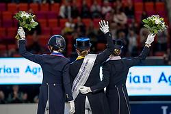Werth Isabell, GER, Graves Laura, USA, Langehanenberg Helen, GER<br /> LONGINES FEI World Cup™ Finals Gothenburg 2019<br /> © Hippo Foto - Stefan Lafrentz<br /> 06/04/2019