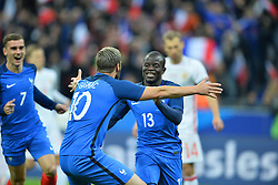 29.03.2016, Stade de France, St. Denis, FRA, Testspiel, Frankreich vs Russland, im Bild gignac andre pierre, kante n'golo, griezmann antoine, // during the International Friendly Football Match between France and Russia at the Stade de France in St. Denis, France on 2016/03/29. EXPA Pictures © 2016, PhotoCredit: EXPA/ Pressesports/ LAHALLE PIERRE<br /> <br /> *****ATTENTION - for AUT, SLO, CRO, SRB, BIH, MAZ, POL only*****