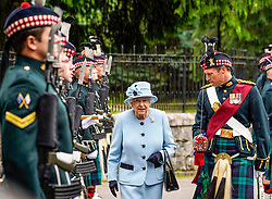 Pictured: Soldiers of 5 Scots (Argyll and Sutherland Highlanders) of The Royal Regiment of Scotland are inspected by HM Queen Elizabeth on her arrival for her summer stay at Balmoral Castle, Michael Craig | EEm date
