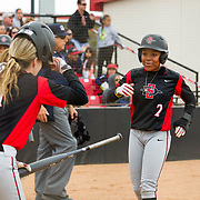 12 May 2018: San Diego State's Zaria Meshack (2) and Megan Smith (1) score on a double in the third inning giving the Aztecs a 2-1 lead. San Diego State women's softball closed out the season against Utah State with a 4-3 win on seniors day and sweep the series. <br /> More game action at sdsuaztecphotos.com