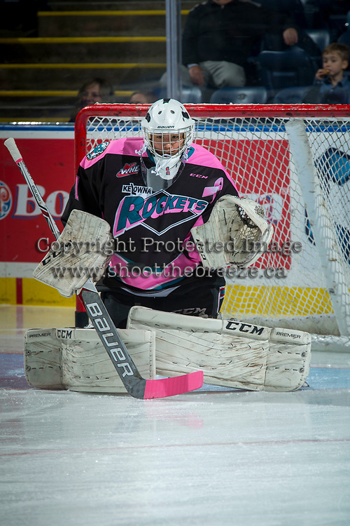 KELOWNA, CANADA - OCTOBER 21: James Porter #1 of the Kelowna Rockets warms up in net against the Portland Winterhawks on October 21, 2017 at Prospera Place in Kelowna, British Columbia, Canada.  (Photo by Marissa Baecker/Shoot the Breeze)  *** Local Caption ***