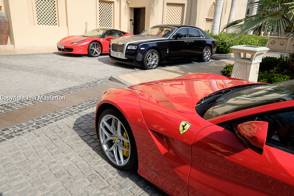 Luxury cars parked outside 5-star hotel in Dubai United Arab Emirates