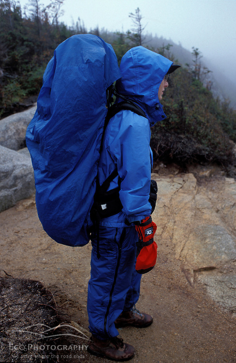 Bad weather gear.  Prepared for bad weather in New Hampshire's White Mountains.  Old Bridle Path, Franconia Notch, NH