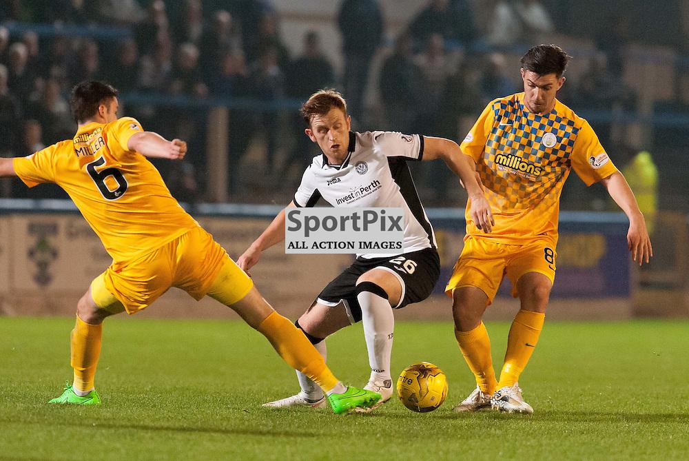 #6 Michael Miller (Greenock Morton), #26 Liam Craig (St Johnstone) and #6 Michael Miller (Greenock Morton). Greenock Morton v St Johnstone, Scottish League Cup, 27 October 2015. © Russel Hutcheson   SportPix.org.uk