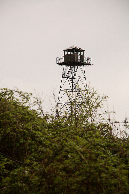 A watchtower at the border police station in Rezovo, Bulgaria. The tower watches over the border area with Turkey.<br /> <br /> Matt Lutton / Boreal Collective for VICE