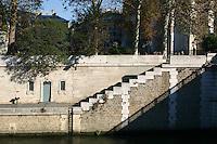 Steps along the banks of the River Seine, Paris, France<br />
