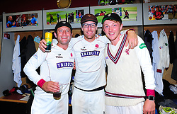 Roelof Van De Merwe, Jack Leach and Dom Bess of Somerset pose for a photo.  - Mandatory by-line: Alex Davidson/JMP - 22/09/2016 - CRICKET - Cooper Associates County Ground - Taunton, United Kingdom - Somerset v Nottinghamshire - Specsavers County Championship Division One