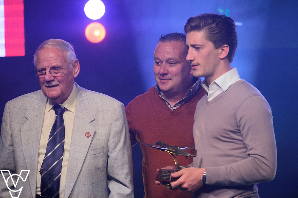 The family of the Late Bill Stacey present Alex Woodyard with he Away Player of the Year award<br /> <br /> Lincoln City Football Club's 2016/17 End of Season Awards night - Champions Seasons Awards Dinner - held at the Lincolnshire Showground.<br /> <br /> Picture: Andrew Vaughan for Lincoln City Football Club<br /> Date: May 20, 2017 Champions Seasons Awards Dinner: