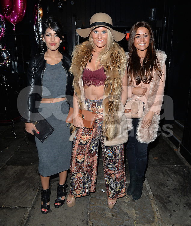 TOWIE stars Danielle Armstrong and Jasmin Walia attend the Coco and Cater clothing launch party at Sugahut, Brentwood, Essex, UK. 23/10/2014<br />