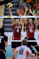 08-07-2010 VOLLEYBAL: WLV NEDERLAND - ZUID KOREA: EINDHOVEN<br /> Nederland verslaat Zuid Korea met 3-0 / Sung Min Moon en Hyun Yong Ha<br /> ©2010-WWW.FOTOHOOGENDOORN.NL