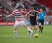 Hamilton&rsquo;s Mikey Devlin tackles Dundee&rsquo;s Greg Stewart - Hamilton v Dundee, Ladbrokes Scottish Premiership at New Douglas Park<br />  <br />  - &copy; David Young - www.davidyoungphoto.co.uk - email: davidyoungphoto@gmail.com