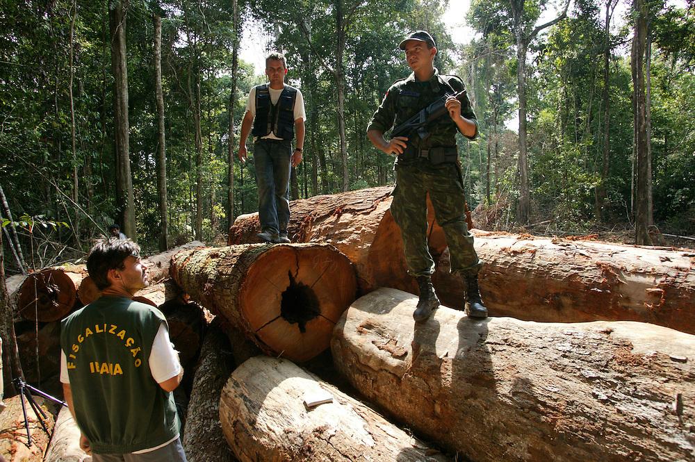 Nov. 19, 2003: Ibama Police seize illegally logged timber at Jaurucu River in Para State, Brazil. ©Daniel Beltra