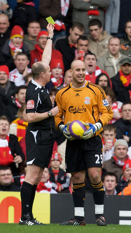 LIVERPOOL, ENGLAND - Saturday, February 23, 2008: Liverpool's goalkeeper Jose Pepe Reina is shown the yellow card by referee L Mason during the Premiership match against Middlesbrough at Anfield. (Photo by David Rawcliffe/Propaganda)