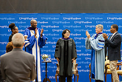 Associate Justice Sonia Sotomayor is applauded after receivingher honorary degree.  2017 Student Convocation with featured honored guest the Honorable Sonia Sotomayor, Associate Justice, United States Supreme Court.  UVI Sports and Fitness Center.  St. Thomas, USVI.  9 February 2017.  © Aisha-Zakiya Boyd
