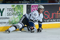 KELOWNA, CANADA - NOVEMBER 20: Chaz Reddekopp #29 of the Victoria Royals stretches on the ice at the Kelowna Rockets on November 20, 2013 at Prospera Place in Kelowna, British Columbia, Canada.   (Photo by Marissa Baecker/Shoot the Breeze)  ***  Local Caption  ***