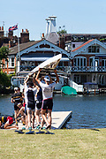 "Henley on Thames, United Kingdom, 2nd July 2018, Monday,   ""Henley Royal Regatta"",  view, Competitors getting early training in on Henley Reach, River Thames, Thames Valley, England, © Peter SPURRIER,"